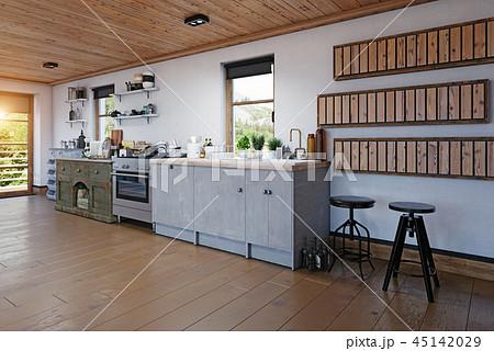 modern chalet interior. 45142029