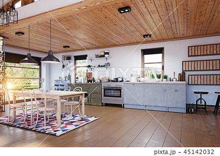 modern chalet interior. 45142032