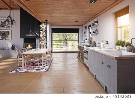modern chalet interior. 45142033