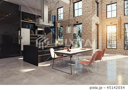 modern luxury kitchen interior. 45142034