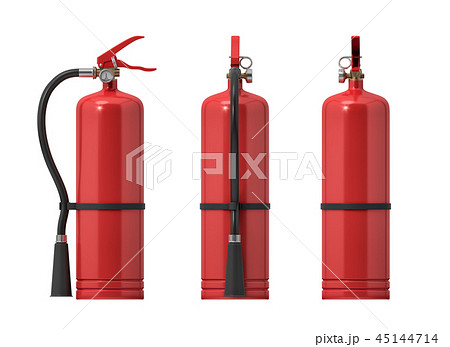 3d rendering of several red fire extinguishers on a white background. 45144714