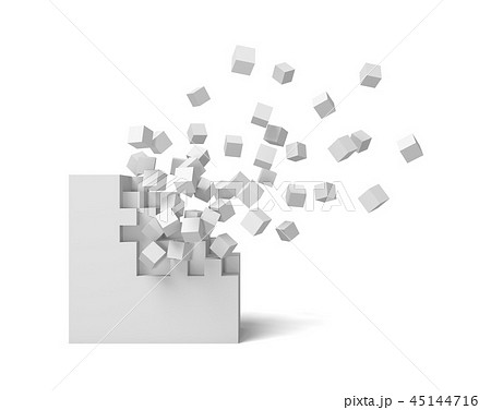 3d rendering of a white square on a white background starting to get destroyed piece by piece. 45144716