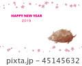 年賀状 2019 いのしし 桜 45145632