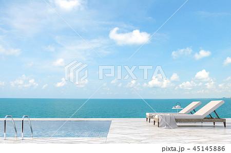 Luxury pool terrace with sea view 3d render 45145886