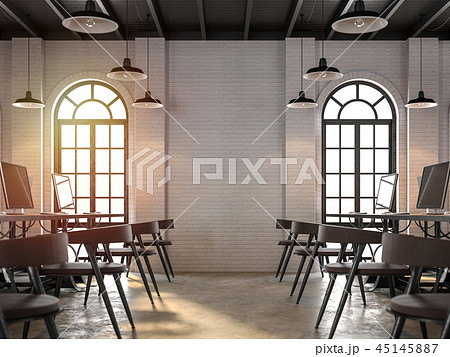 Loft style office interior 3d render 45145887
