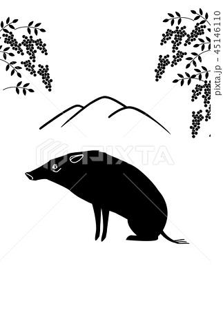 シルエット 山 実のなる植物 座る猪のイラスト素材 45146110