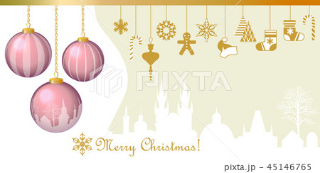 Realistic Merry Christmas greeting card. 45146765
