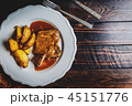 Grilled pork steak and fried potatoes 45151776