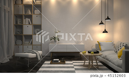 Interior modern design room 3D illustration 45152603