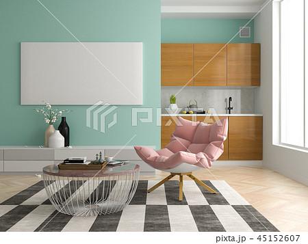 Interior modern design room 3D illustration 45152607