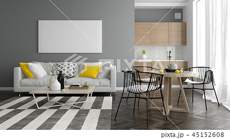 Interior modern design room 3D illustration 45152608