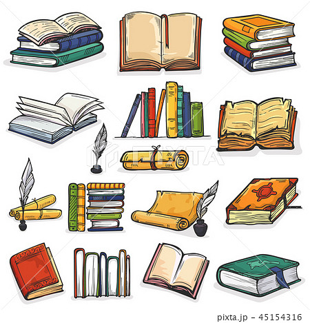 Books vector stack of textbooks and notebooks on bookshelves in library or bookstore illustration 45154316