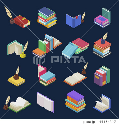 Books vector stack of textbooks and notebooks on bookshelves in library or bookstore illustration 45154317