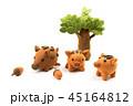 イノシシ親子のクラフト 2019年亥年年賀状素材 45164812