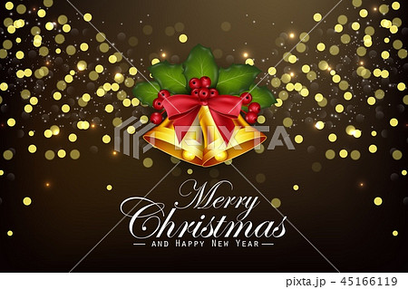 Christmas background golden bells and holly berrie 45166119