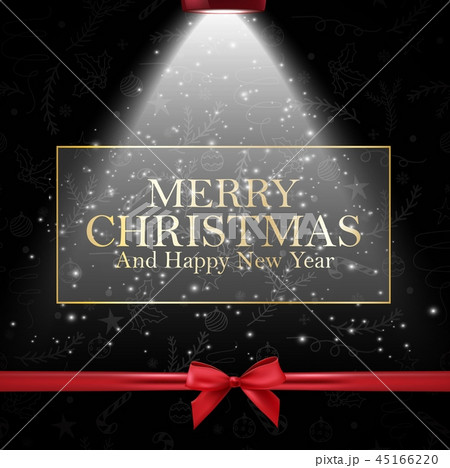 Merry Christmas and happy new year card with golde 45166220