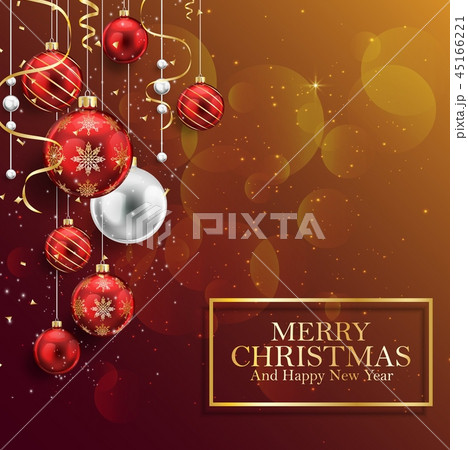 Christmas background with red balls 45166221