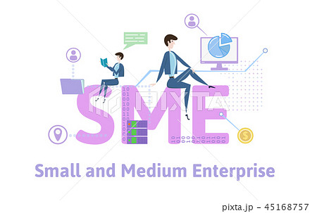 SME, Small and Medium Enterprise. Concept table with people, letters and icons. Colored flat vector 45168757