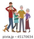 三世代 笑顔の家族 祖父母 子育て イラスト 45170634