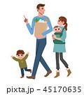 家族 全身 白バックのイラスト 45170635