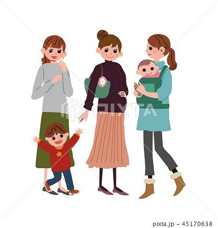 子育てをする 女性 ママ友 イラスト 45170638