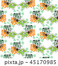 Vector seamless pattern with tiger heads and flowers on white dotted background. Fabric design for 45170985
