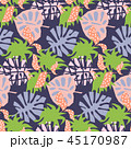Purple tropical exotic leaves abstract collage style. Seamless vector wallpaper and textile print 45170987