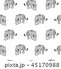 Vector seamless pattern with tigers on white background. Fabric design for tshirts and blouses. 45170988
