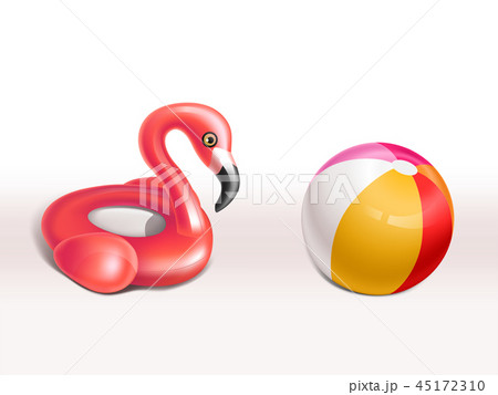 Vector set of inflatable flamingo rubber rings 45172310