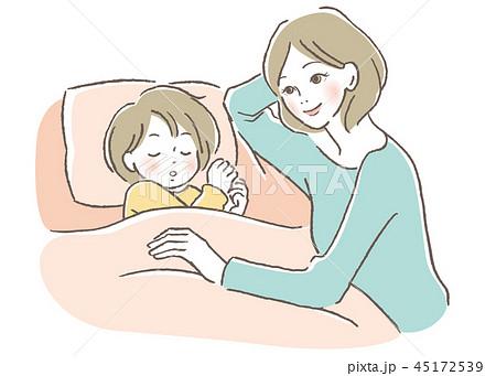 子供と母親 寝かしつけ 45172539