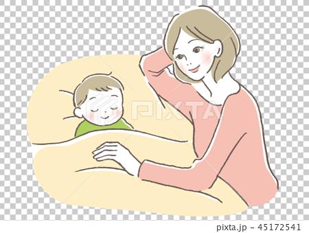 子供と母親 寝かしつけ 45172541