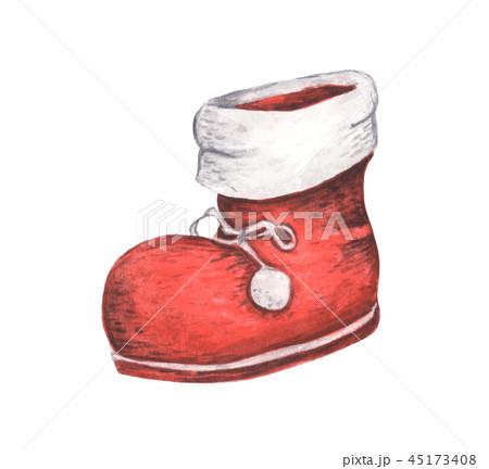 Red Santa's boot. Christmas decor, Watercolor 45173408