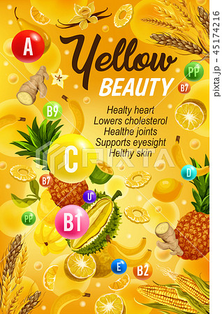 Healthy food and vitamins, color yellow diet 45174216
