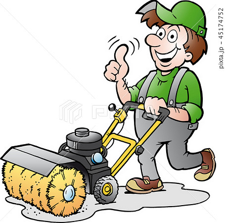 Happy Gardener with his Sweeping Machine 45174752