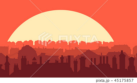 Illustration of downtown part of city at sunset. 45175857