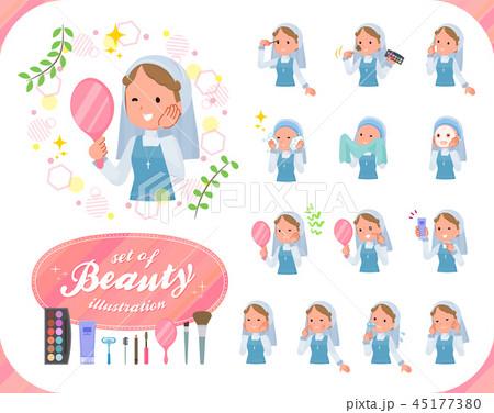flat type Nun women emerald costume_beauty 45177380