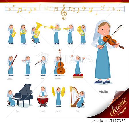 flat type Nun women emerald costume_classic music 45177385