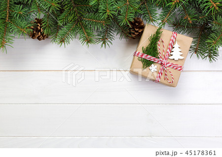 Christmas Background gift with fir branches 45178361