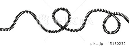 3d rendering of a single curved spiral cable lying on a white background. 45180232