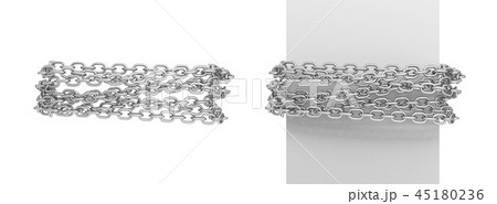 3d rendering of a two pieces of chain messily fastened around a white post and around empty space. 45180236