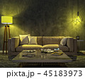 Night interior with yellow colored lights 45183973