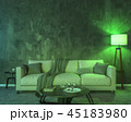 Night interior with green colored lights 45183980