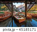 小船 湖 山の写真 45185171