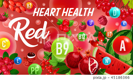 Vitamin from red fruits, color diet heart health 45186366