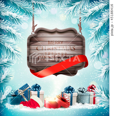 Holiday Christmas background with a gift boxes 45186416