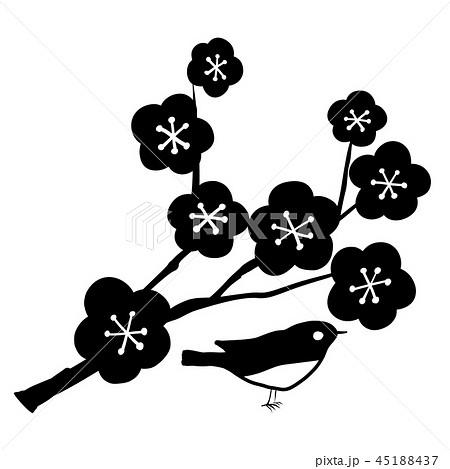 ベクター 梅 小鳥 正月 アイコンのイラスト素材 45188437 Pixta