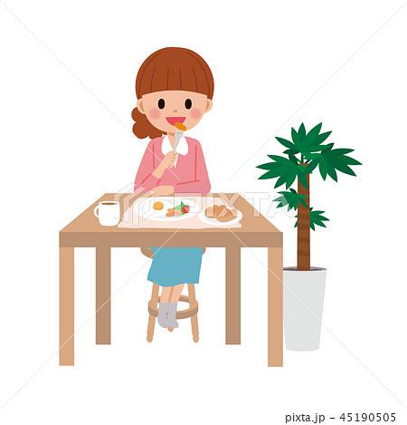 一人で食事をする 女性 イラスト 45190505