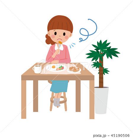 一人で食事をする 女性 イラスト 45190506