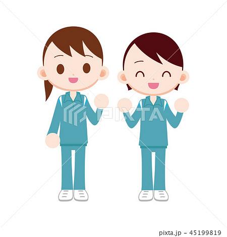 学校指定の体操着 女の子二人のイラスト素材 45199819 Pixta