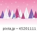クリスマス 森 トナカイのイラスト 45201111